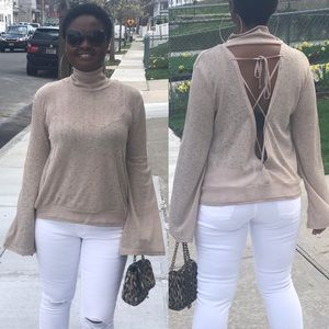 Tops - 🎉just In🎉Bell Sleeves Backless Lace Up Mock Neck